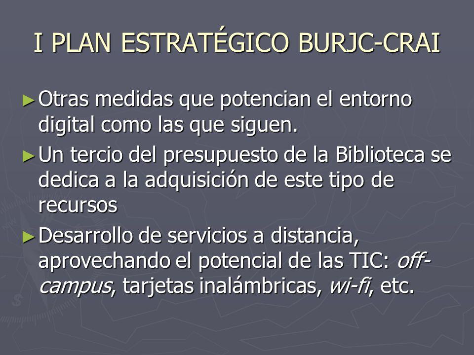 I PLAN ESTRATÉGICO BURJC-CRAI Otras medidas que potencian el entorno digital como las que siguen. Otras medidas que potencian el entorno digital como