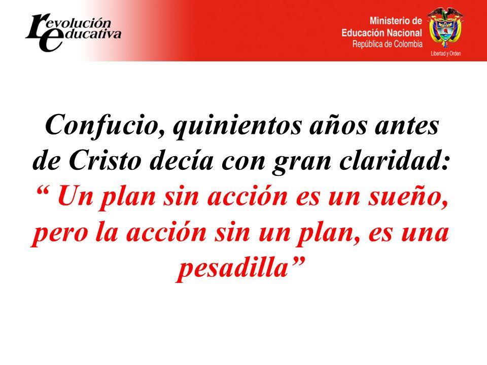 Confucio, quinientos años antes de Cristo decía con gran claridad: Un plan sin acción es un sueño, pero la acción sin un plan, es una pesadilla