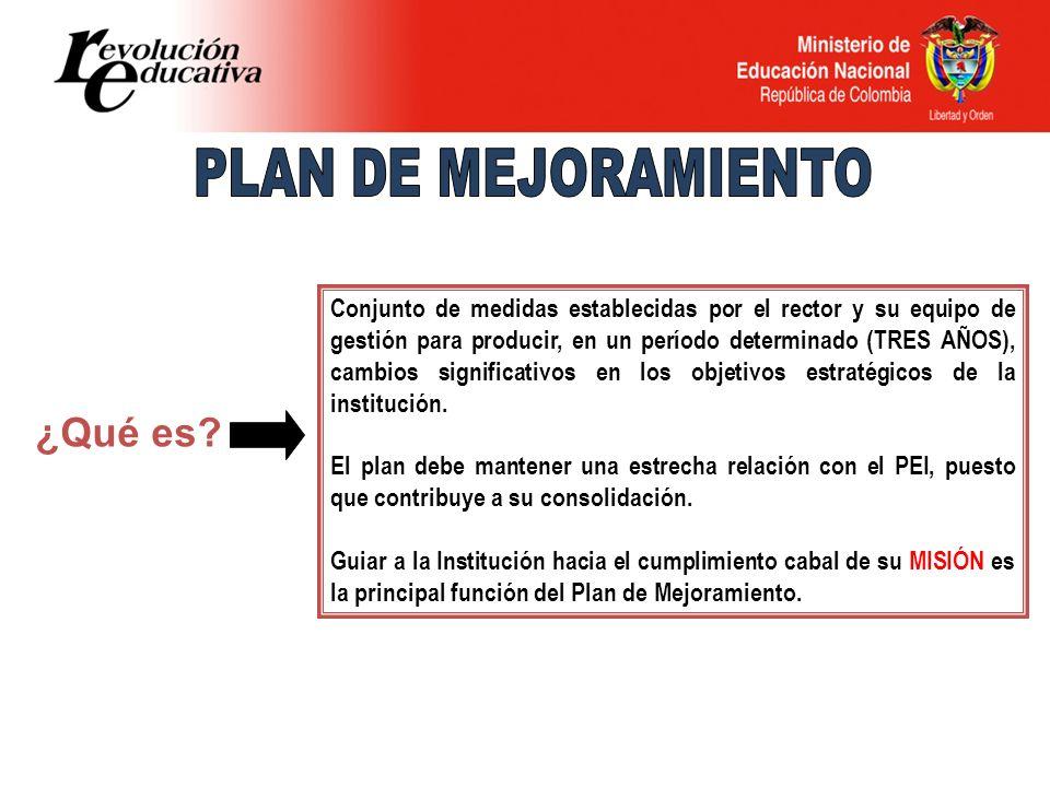 Conjunto de medidas establecidas por el rector y su equipo de gestión para producir, en un período determinado (TRES AÑOS), cambios significativos en