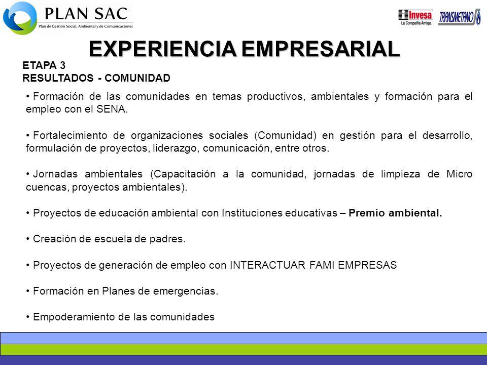 EXPERIENCIA EMPRESARIAL ETAPA 3 RESULTADOS - COMUNIDAD Formación de las comunidades en temas productivos, ambientales y formación para el empleo con e