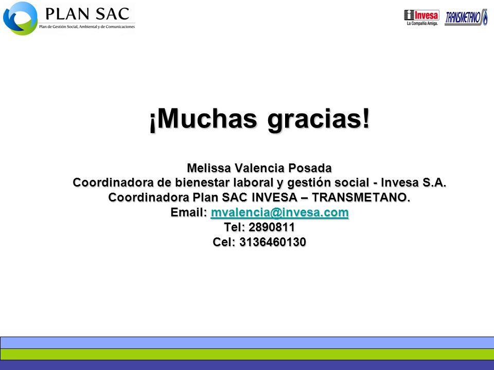 ¡Muchas gracias! Melissa Valencia Posada Coordinadora de bienestar laboral y gestión social - Invesa S.A. Coordinadora Plan SAC INVESA – TRANSMETANO.