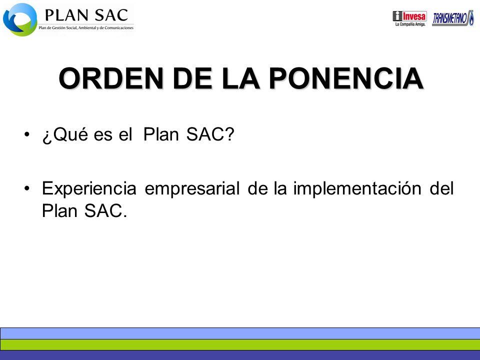 ORDEN DE LA PONENCIA ¿Qué es el Plan SAC? Experiencia empresarial de la implementación del Plan SAC.