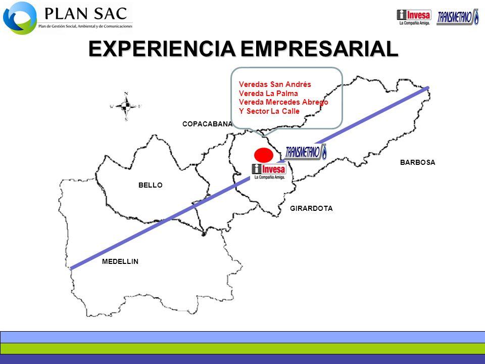 MEDELLIN BELLO COPACABANA GIRARDOTA BARBOSA Veredas San Andrés Vereda La Palma Vereda Mercedes Abrego Y Sector La Calle