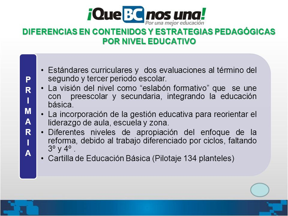 DIFERENCIAS EN CONTENIDOS Y ESTRATEGIAS PEDAGÓGICAS POR NIVEL EDUCATIVO Estándares curriculares y dos evaluaciones al término del segundo y tercer per