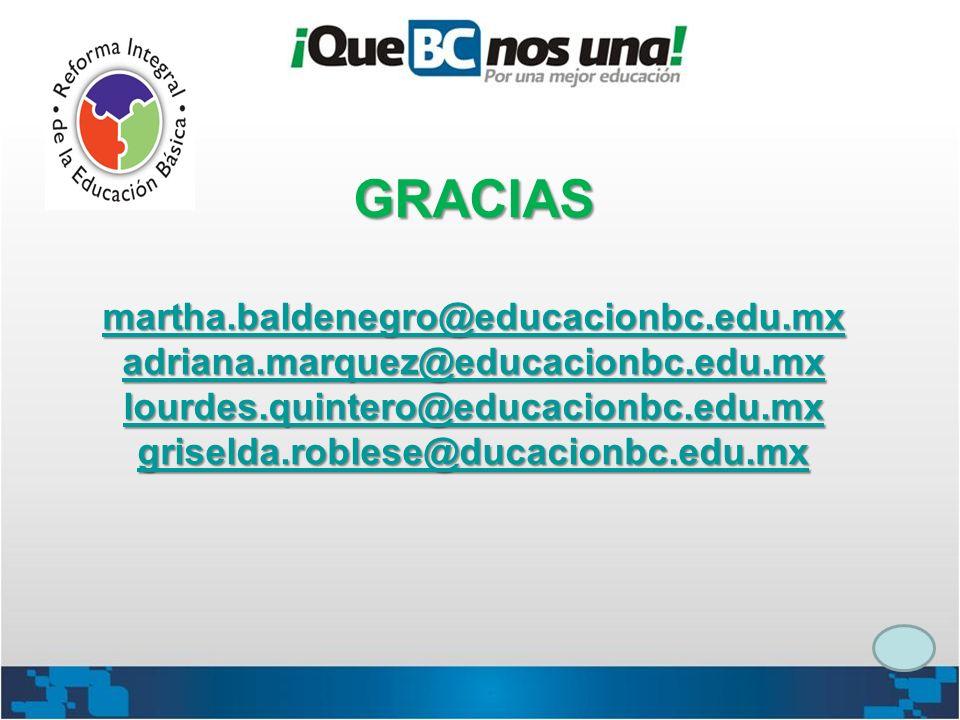GRACIAS martha.baldenegro@educacionbc.edu.mx adriana.marquez@educacionbc.edu.mx lourdes.quintero@educacionbc.edu.mx griselda.roblese@ducacionbc.edu.mx