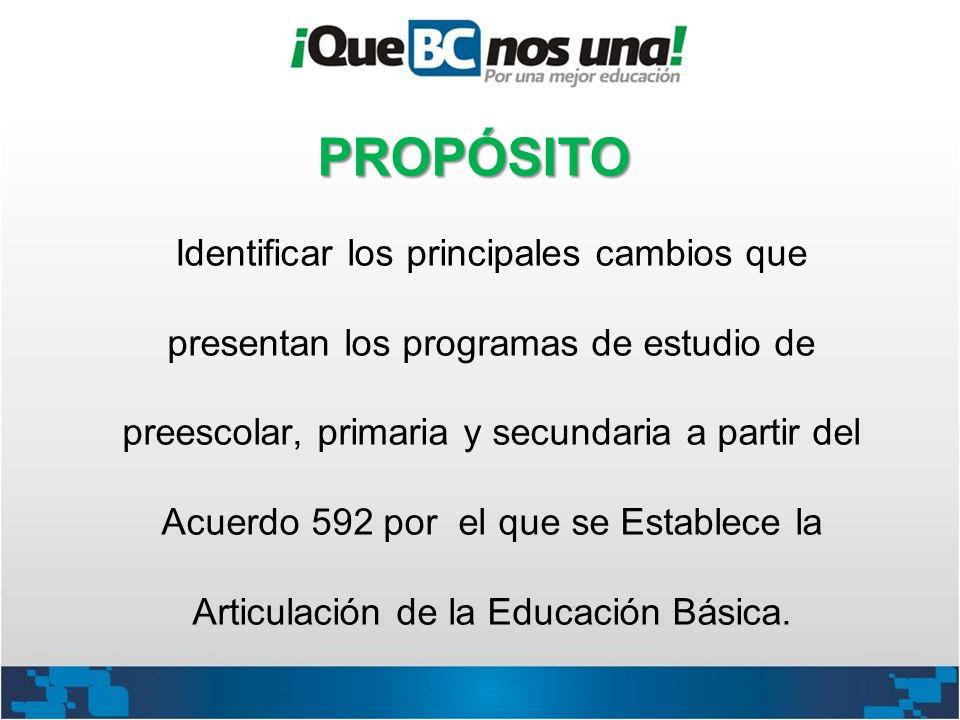 Identificar los principales cambios que presentan los programas de estudio de preescolar, primaria y secundaria a partir del Acuerdo 592 por el que se