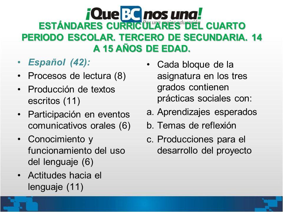 ESTÁNDARES CURRICULARES DEL CUARTO PERIODO ESCOLAR. TERCERO DE SECUNDARIA. 14 A 15 AÑOS DE EDAD. Español (42): Procesos de lectura (8) Producción de t
