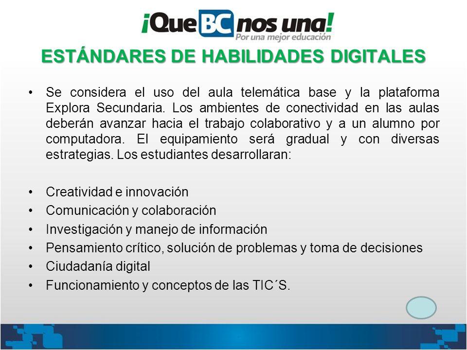 ESTÁNDARES DE HABILIDADES DIGITALES Se considera el uso del aula telemática base y la plataforma Explora Secundaria. Los ambientes de conectividad en