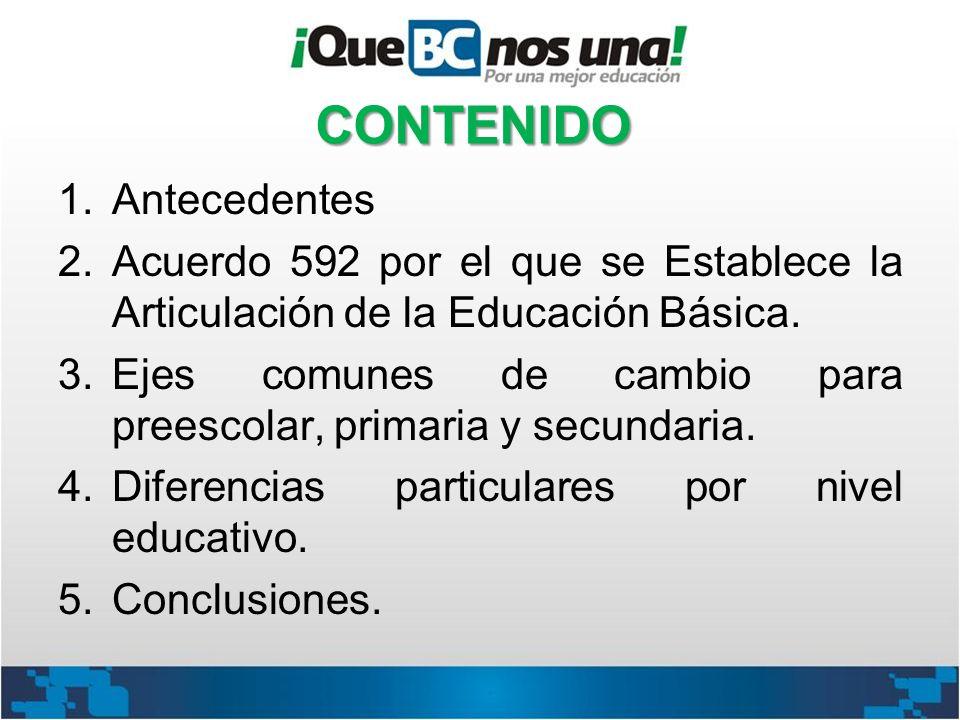 CONTENIDO 1.Antecedentes 2.Acuerdo 592 por el que se Establece la Articulación de la Educación Básica. 3.Ejes comunes de cambio para preescolar, prima