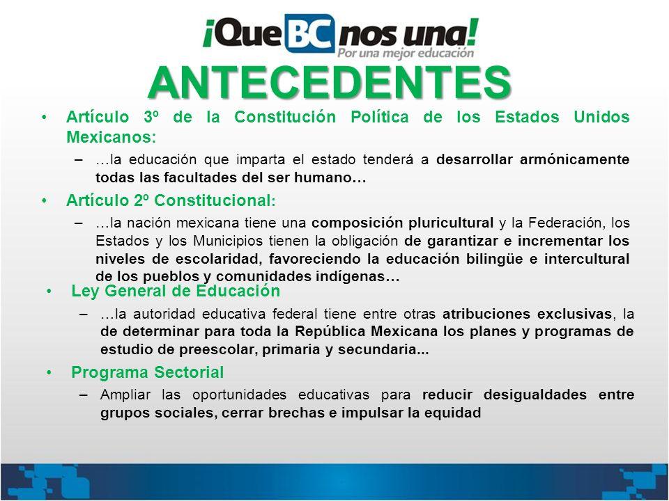 ANTECEDENTES Artículo 3º de la Constitución Política de los Estados Unidos Mexicanos: –…la educación que imparta el estado tenderá a desarrollar armón