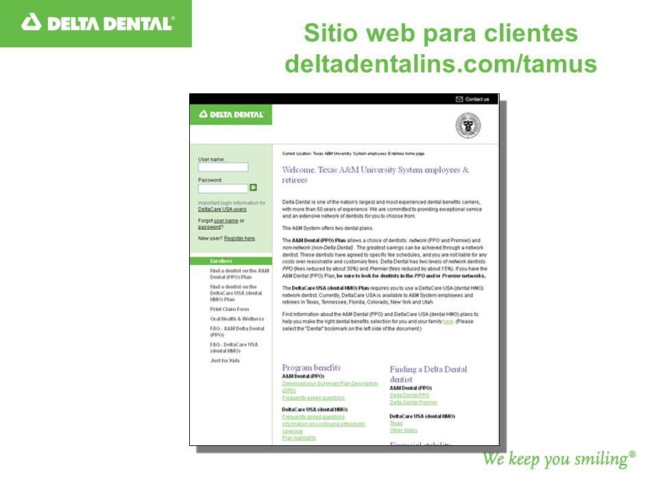 Sitio web para clientes deltadentalins.com/tamus