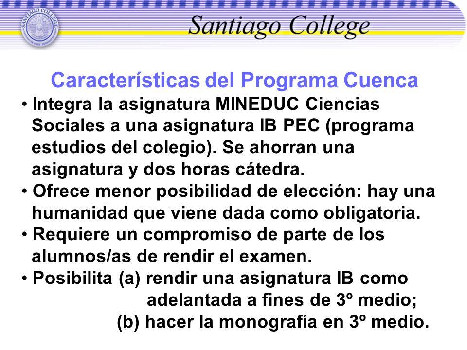 Características del Programa Cuenca Integra la asignatura MINEDUC Ciencias Sociales a una asignatura IB PEC (programa estudios del colegio). Se ahorra