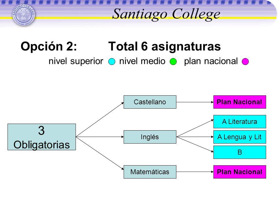 Opción 2: Total 6 asignaturas nivel superior nivel medio plan nacional Castellano Plan Nacional Inglés A Literatura A Lengua y Lit B MatemáticasPlan N