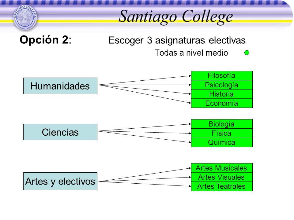 Opción 2: Escoger 3 asignaturas electivas Todas a nivel medio Ciencias Artes y electivos Humanidades Filosofía Psicología Historia Economía Química Bi