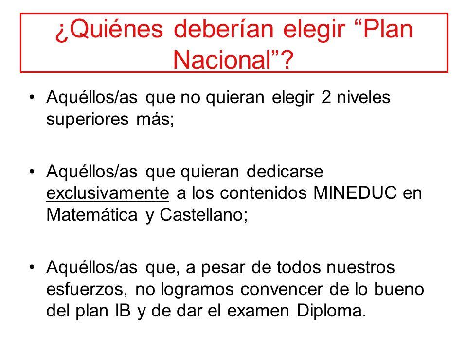 ¿Quiénes deberían elegir Plan Nacional? Aquéllos/as que no quieran elegir 2 niveles superiores más; Aquéllos/as que quieran dedicarse exclusivamente a