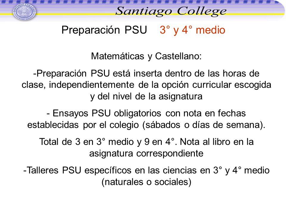 Preparación PSU 3° y 4° medio Matemáticas y Castellano: -Preparación PSU está inserta dentro de las horas de clase, independientemente de la opción cu
