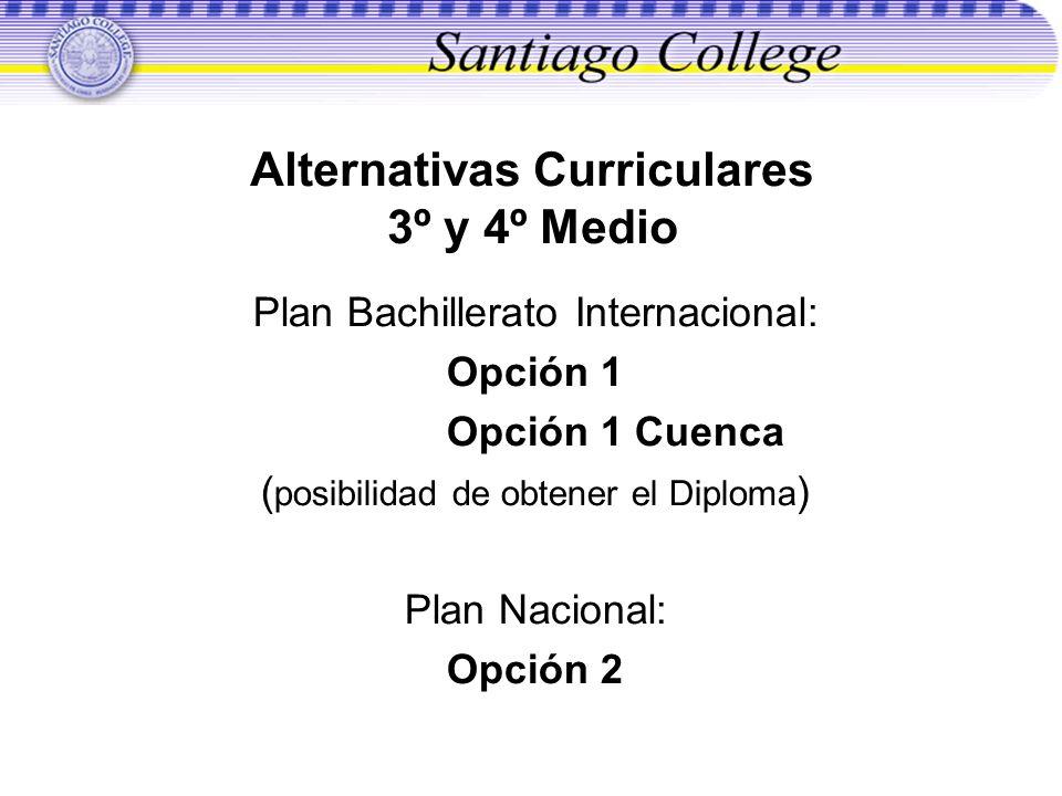 Alternativas Curriculares 3º y 4º Medio Plan Bachillerato Internacional: Opción 1 Opción 1 Cuenca ( posibilidad de obtener el Diploma ) Plan Nacional: