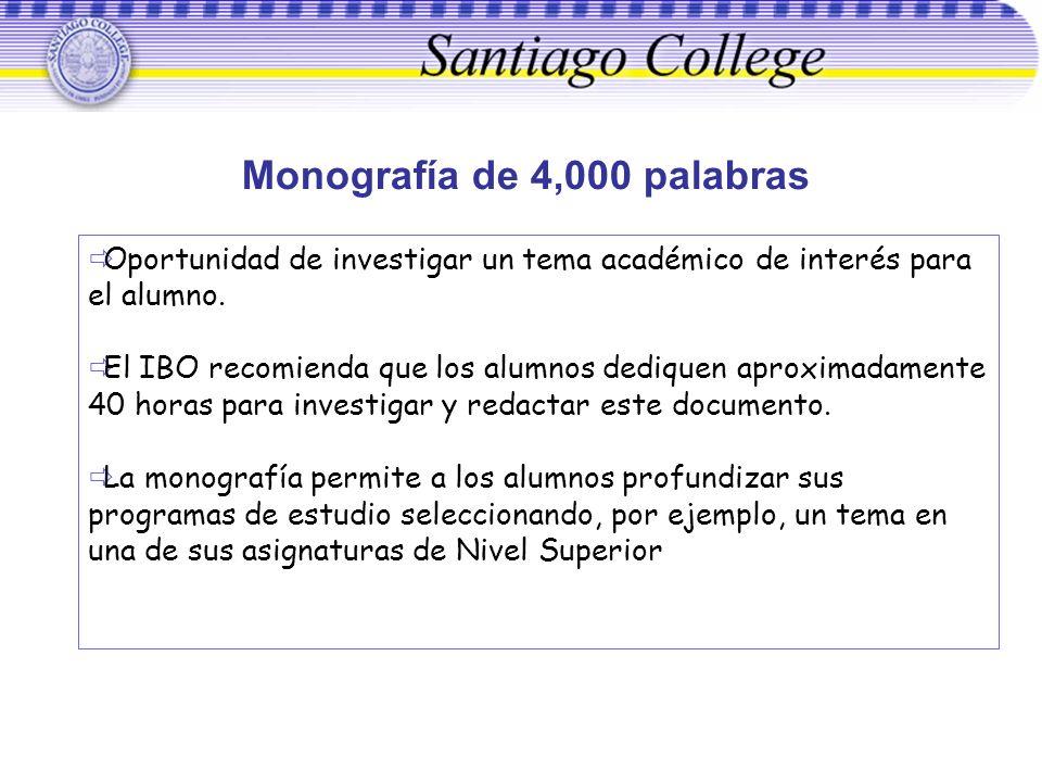 Monografía de 4,000 palabras Oportunidad de investigar un tema académico de interés para el alumno. El IBO recomienda que los alumnos dediquen aproxim