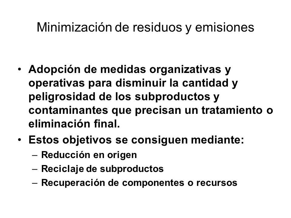Minimización de residuos y emisiones Adopción de medidas organizativas y operativas para disminuir la cantidad y peligrosidad de los subproductos y contaminantes que precisan un tratamiento o eliminación final.