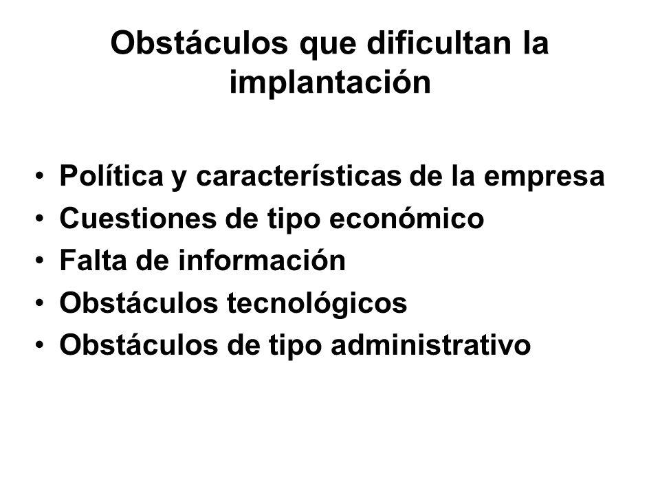 Obstáculos que dificultan la implantación Política y características de la empresa Cuestiones de tipo económico Falta de información Obstáculos tecnológicos Obstáculos de tipo administrativo
