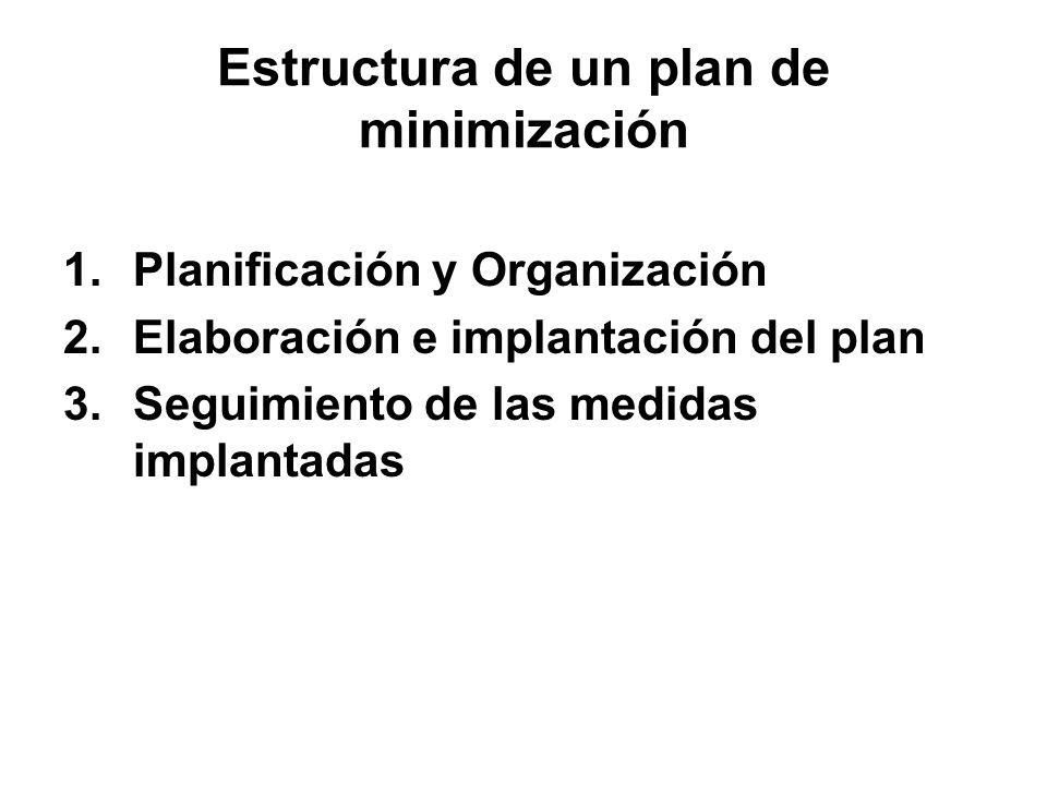 Estructura de un plan de minimización 1.Planificación y Organización 2.Elaboración e implantación del plan 3.Seguimiento de las medidas implantadas