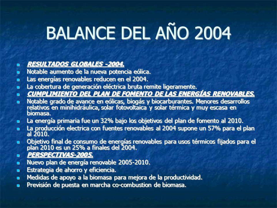 BALANCE DEL AÑO 2004 RESULTADOS GLOBALES -2004. RESULTADOS GLOBALES -2004. Notable aumento de la nueva potencia eólica. Notable aumento de la nueva po