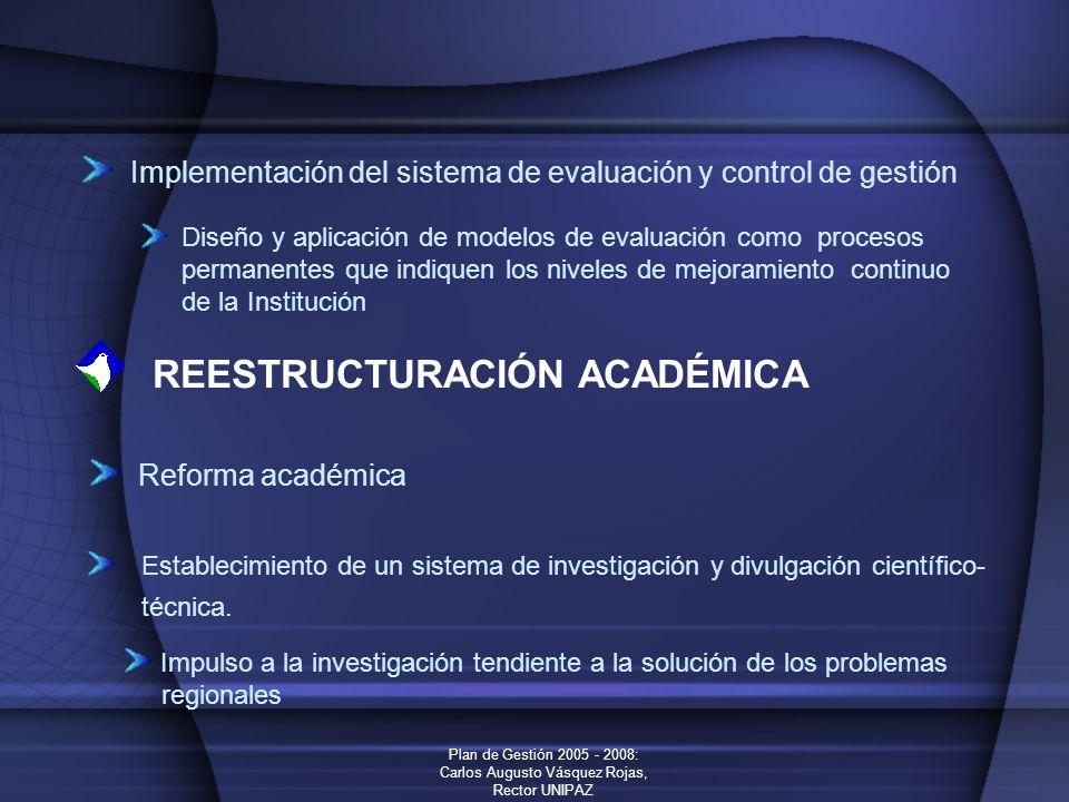 Plan de Gestión 2005 - 2008: Carlos Augusto Vásquez Rojas, Rector UNIPAZ Implementación del sistema de evaluación y control de gestión Diseño y aplica