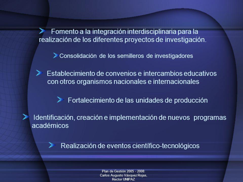 Plan de Gestión 2005 - 2008: Carlos Augusto Vásquez Rojas, Rector UNIPAZ Fomento a la integración interdisciplinaria para la realización de los difere