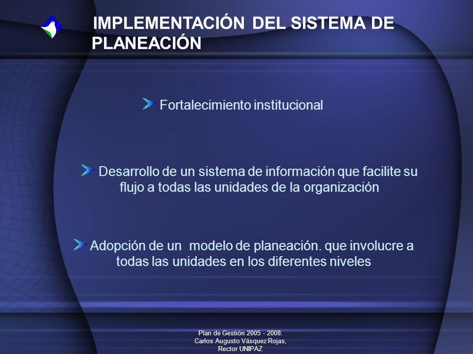 Plan de Gestión 2005 - 2008: Carlos Augusto Vásquez Rojas, Rector UNIPAZ IMPLEMENTACIÓN DEL SISTEMA DE PLANEACIÓN Fortalecimiento institucional Desarr