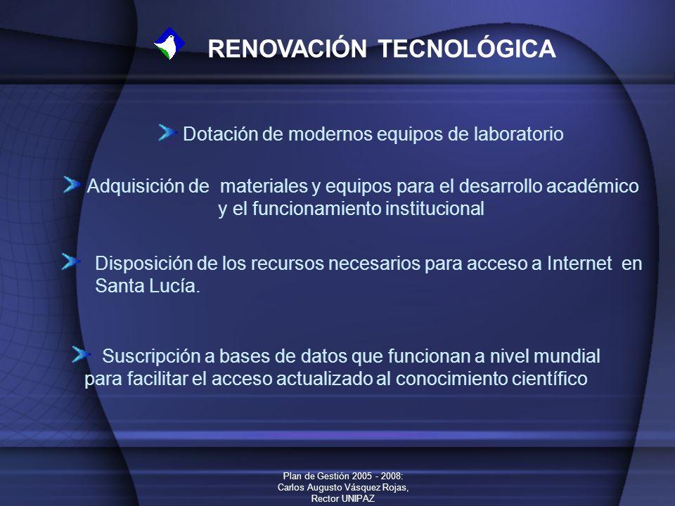 Plan de Gestión 2005 - 2008: Carlos Augusto Vásquez Rojas, Rector UNIPAZ RENOVACIÓN TECNOLÓGICA Dotación de modernos equipos de laboratorio Adquisició