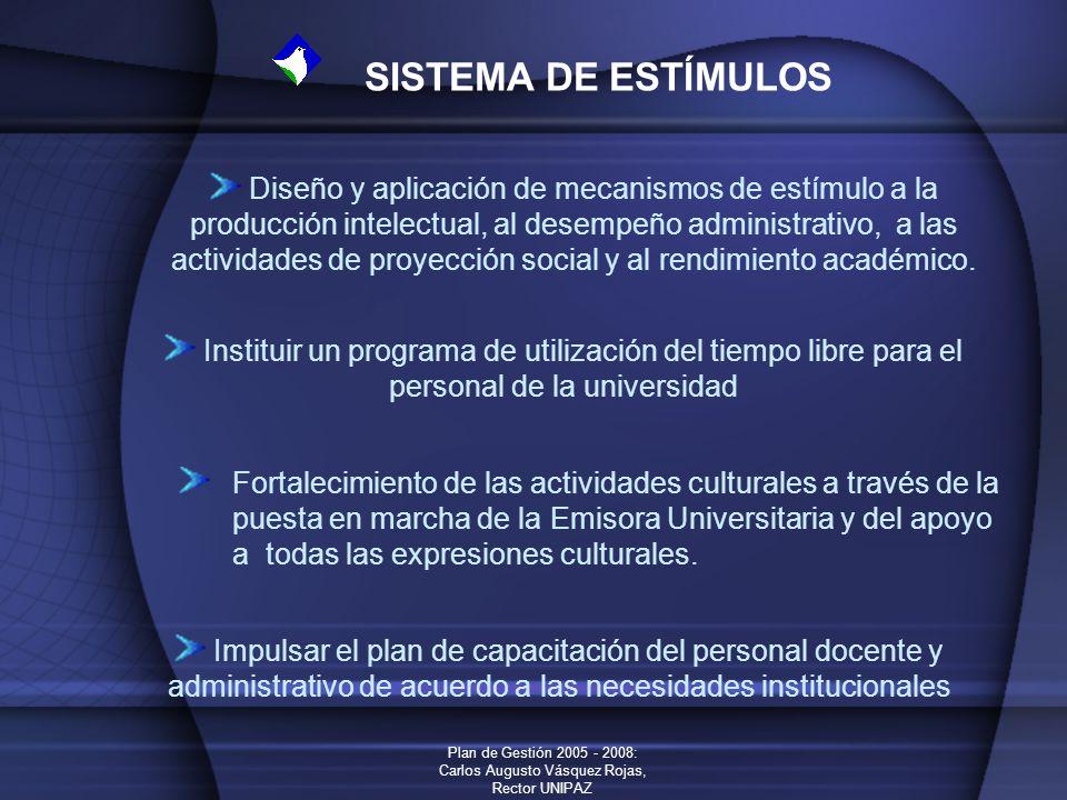 Plan de Gestión 2005 - 2008: Carlos Augusto Vásquez Rojas, Rector UNIPAZ SISTEMA DE ESTÍMULOS Diseño y aplicación de mecanismos de estímulo a la produ