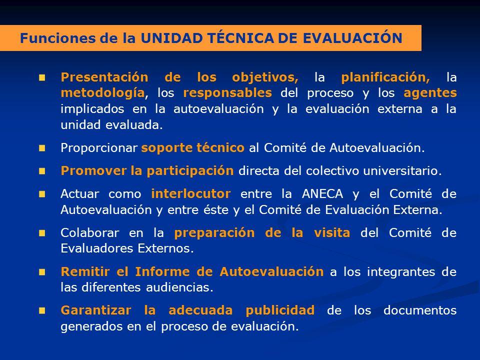 Funciones de la UNIDAD TÉCNICA DE EVALUACIÓN Presentación de los objetivos, la planificación, la metodología, los responsables del proceso y los agentes implicados en la autoevaluación y la evaluación externa a la unidad evaluada.