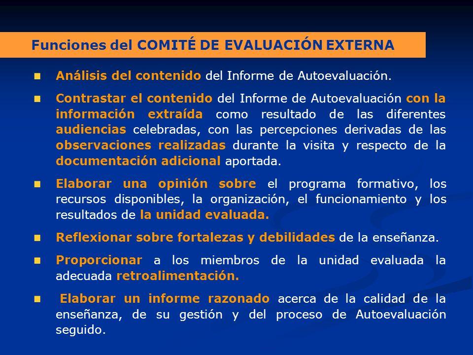 Funciones del COMITÉ DE EVALUACIÓN EXTERNA Análisis del contenido del Informe de Autoevaluación.