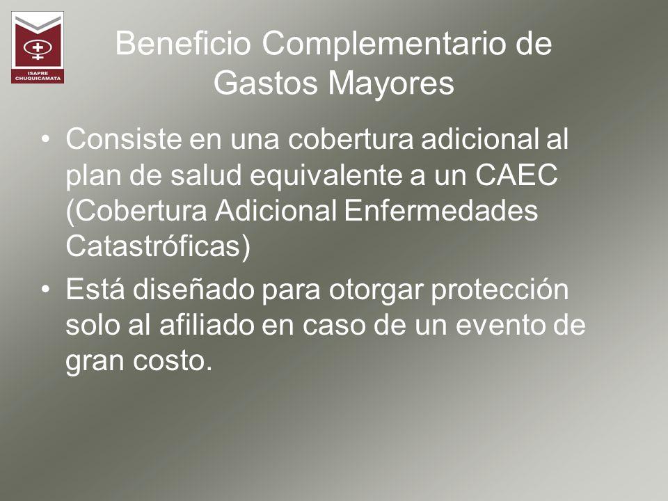Beneficio Complementario de Gastos Mayores Consiste en una cobertura adicional al plan de salud equivalente a un CAEC (Cobertura Adicional Enfermedade