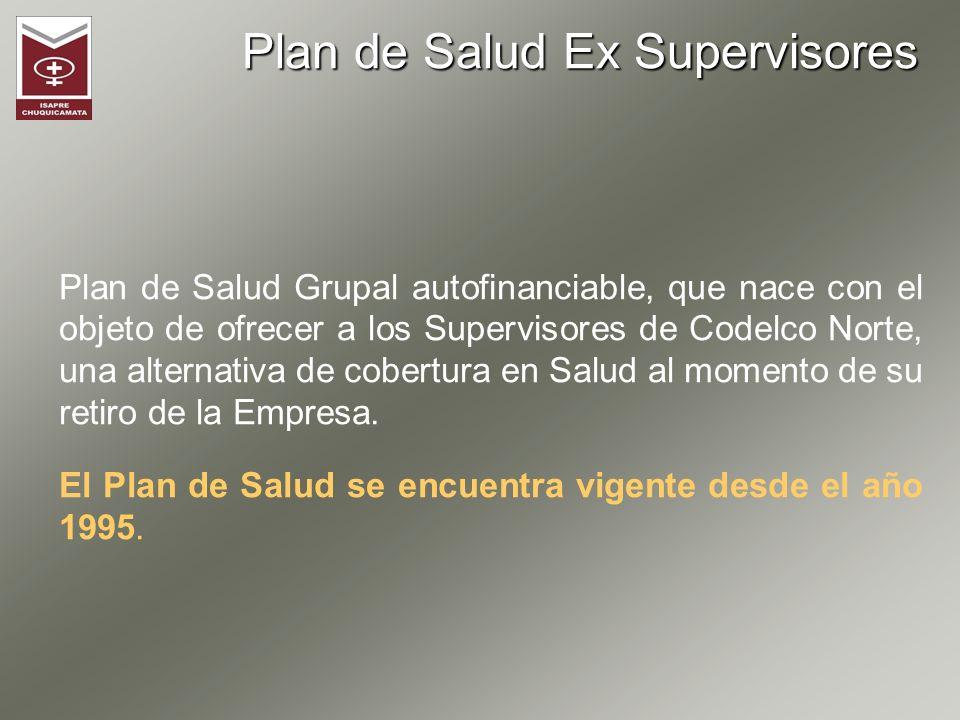 Plan de Salud Ex Supervisores Plan de Salud Grupal autofinanciable, que nace con el objeto de ofrecer a los Supervisores de Codelco Norte, una alterna