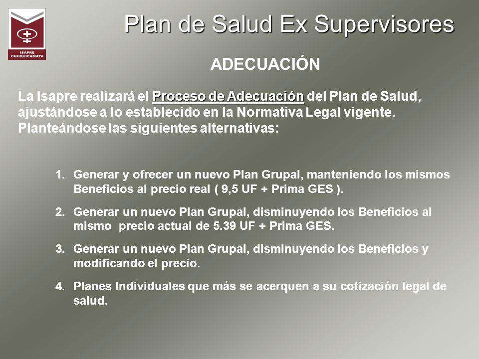 Plan de Salud Ex Supervisores ADECUACIÓN Proceso de Adecuación La Isapre realizará el Proceso de Adecuación del Plan de Salud, ajustándose a lo establ