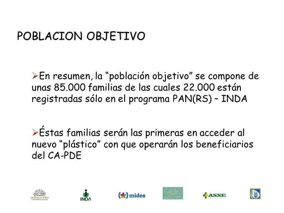 En resumen, la población objetivo se compone de unas 85.000 familias de las cuales 22.000 están registradas sólo en el programa PAN(RS) – INDA Éstas f