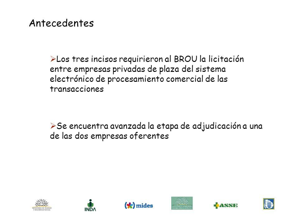 INDA y MIDES unificarán sus bases de datos para entregar al BROU la nomina de beneficiarios tan pronto se adjudique en firme la licitación respectiva INDA mantiene en los territorios la representatividad a través de las Intendencias, esté o no integrada la M.I.