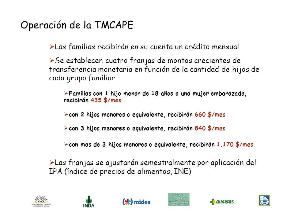 Operación de la TMCAPE Las familias recibirán en su cuenta un crédito mensual Se establecen cuatro franjas de montos crecientes de transferencia monet
