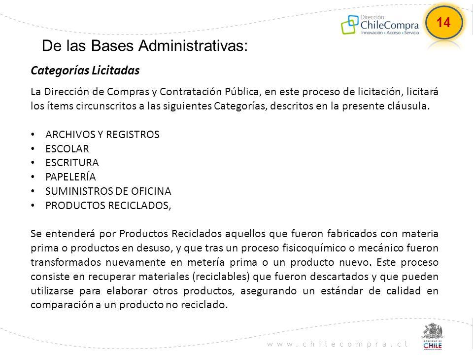 www.chilecompra.cl De las Bases Administrativas: La Dirección de Compras y Contratación Pública, en este proceso de licitación, licitará los ítems cir