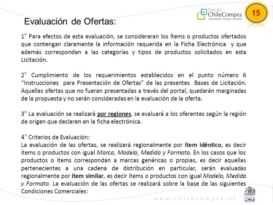www.chilecompra.cl Evaluación de Ofertas: 1° Para efectos de esta evaluación, se consideraran los Ítems o productos ofertados que contengan claramente
