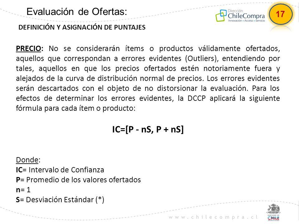 www.chilecompra.cl Evaluación de Ofertas: DEFINICIÓN Y ASIGNACIÓN DE PUNTAJES PRECIO: No se considerarán ítems o productos válidamente ofertados, aque