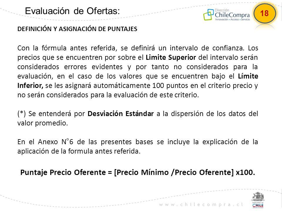 www.chilecompra.cl Evaluación de Ofertas: DEFINICIÓN Y ASIGNACIÓN DE PUNTAJES Con la fórmula antes referida, se definirá un intervalo de confianza. Lo