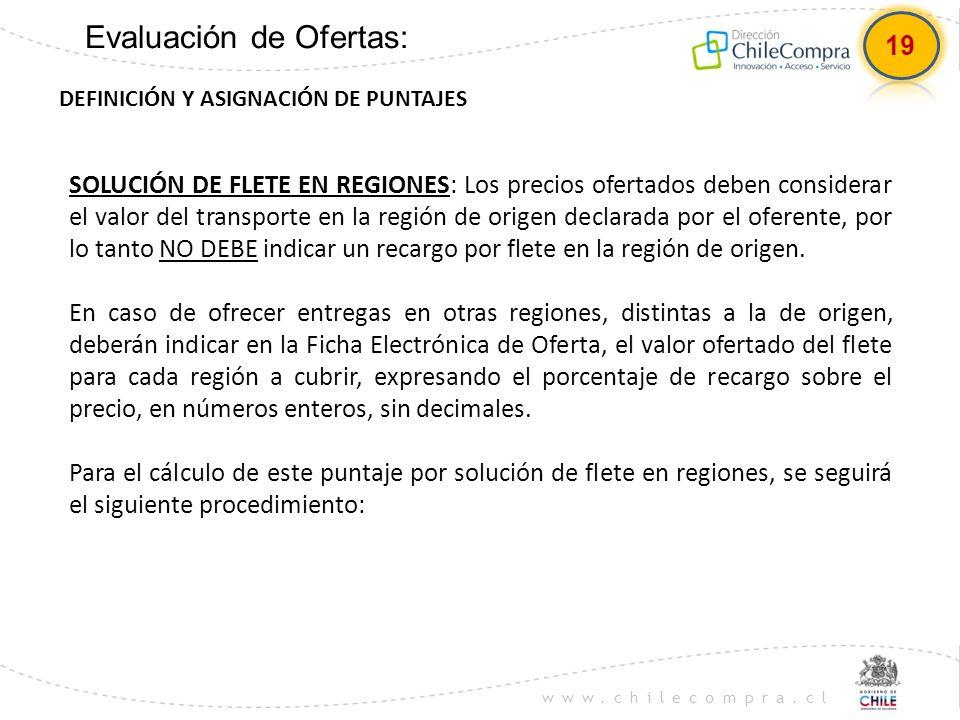 www.chilecompra.cl Evaluación de Ofertas: DEFINICIÓN Y ASIGNACIÓN DE PUNTAJES SOLUCIÓN DE FLETE EN REGIONES: Los precios ofertados deben considerar el