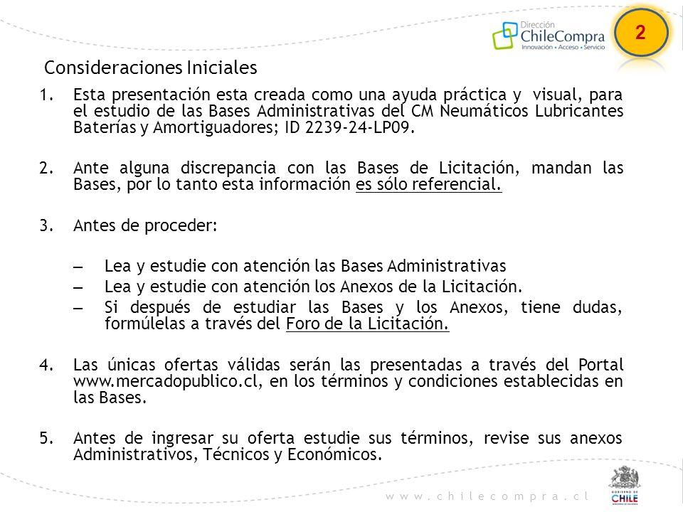 www.chilecompra.cl Consideraciones Iniciales 1.Esta presentación esta creada como una ayuda práctica y visual, para el estudio de las Bases Administra