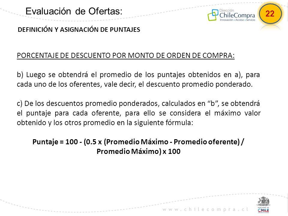 www.chilecompra.cl Evaluación de Ofertas: DEFINICIÓN Y ASIGNACIÓN DE PUNTAJES PORCENTAJE DE DESCUENTO POR MONTO DE ORDEN DE COMPRA: b) Luego se obtend