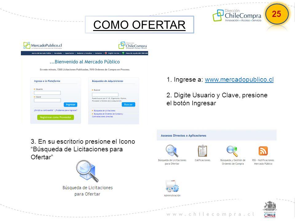 www.chilecompra.cl COMO OFERTAR 1. Ingrese a: www.mercadopublico.clwww.mercadopublico.cl 2. Digite Usuario y Clave, presione el botón Ingresar 3. En s