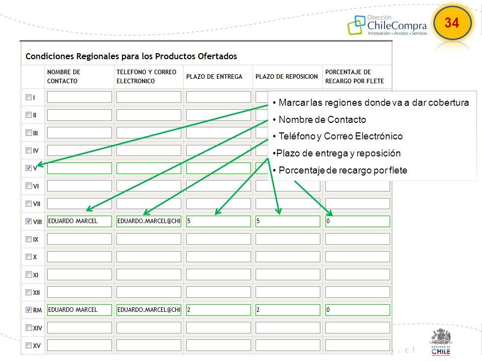 www.chilecompra.cl Marcar las regiones donde va a dar cobertura Nombre de Contacto Teléfono y Correo Electrónico Plazo de entrega y reposición Porcent