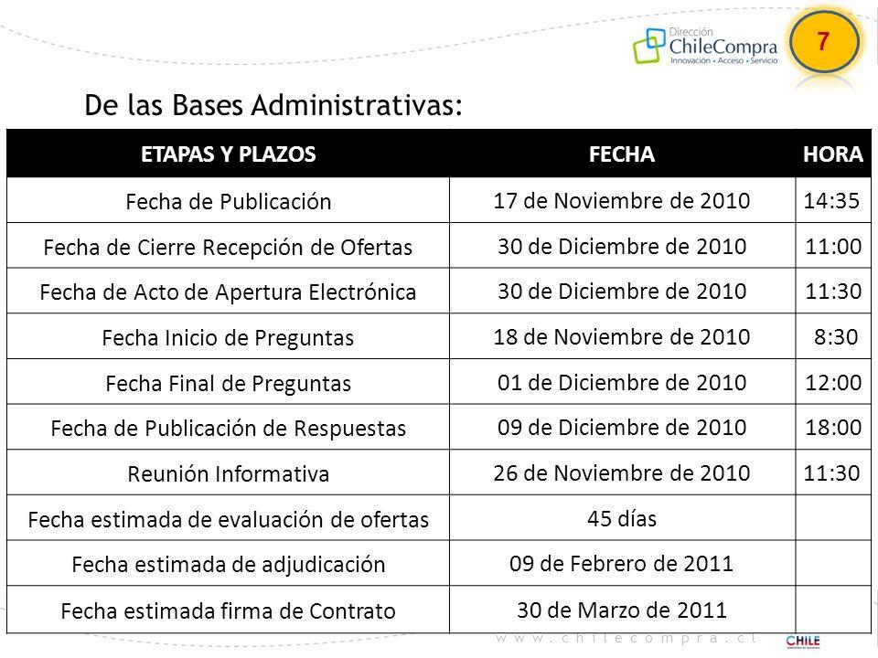 www.chilecompra.cl De las Bases Administrativas: 7 ETAPAS Y PLAZOSFECHAHORA Fecha de Publicación17 de Noviembre de 201014:35 Fecha de Cierre Recepción