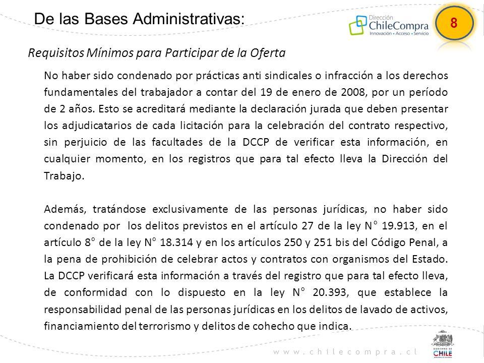 www.chilecompra.cl De las Bases Administrativas: Requisitos Mínimos para Participar de la Oferta No haber sido condenado por prácticas anti sindicales